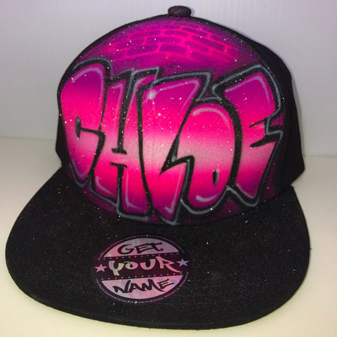 Pink Graffiti Airbrushed Hat