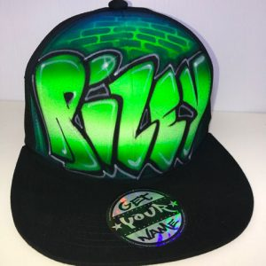 Green Graffiti Airbrushed Hat
