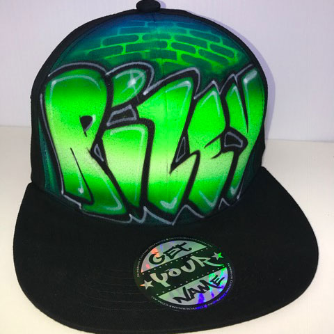 Green Graffiti Airbrushed Hat