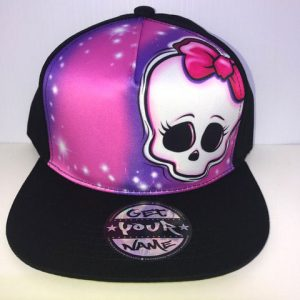 Skull Bow Airbrushed Hat