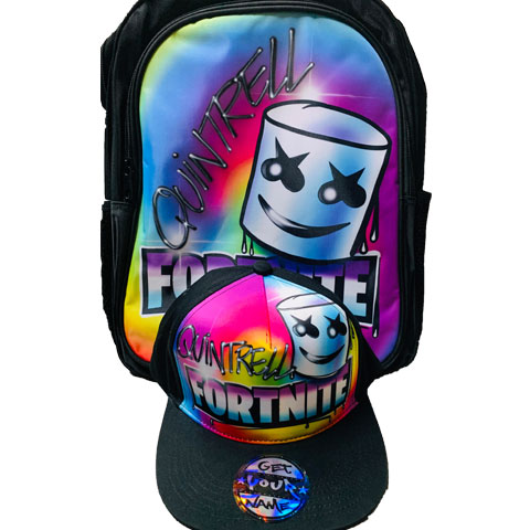 Marshmello Airbrushed Hat and Backpack Set