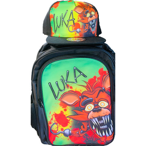 Foxy Airbrushed Hat and Backpack Set