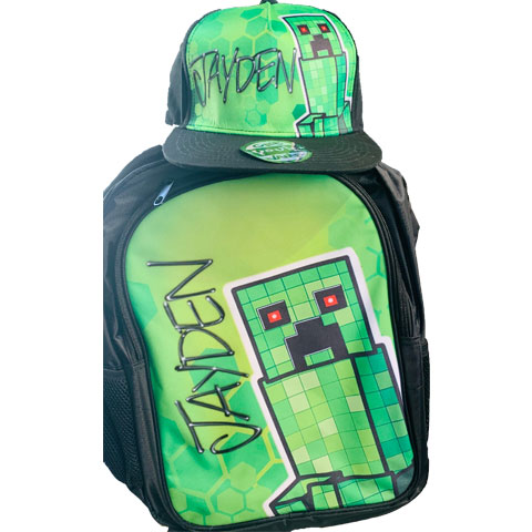 Minecraft Airbrushed Hat and Backpack Set