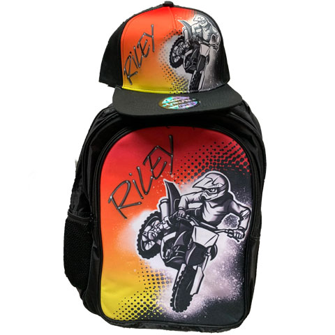 Motox Airbrushed Hat and Backpack Set