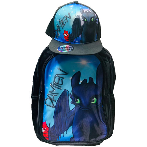 Toothless Airbrushed Hat and Backpack Set